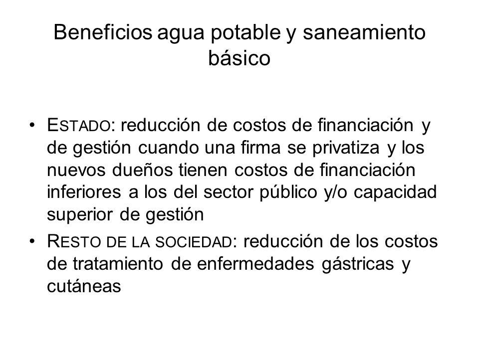 Beneficios agua potable y saneamiento básico E STADO : reducción de costos de financiación y de gestión cuando una firma se privatiza y los nuevos due