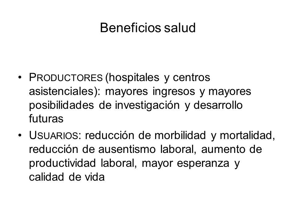 Beneficios salud P RODUCTORES (hospitales y centros asistenciales): mayores ingresos y mayores posibilidades de investigación y desarrollo futuras U S