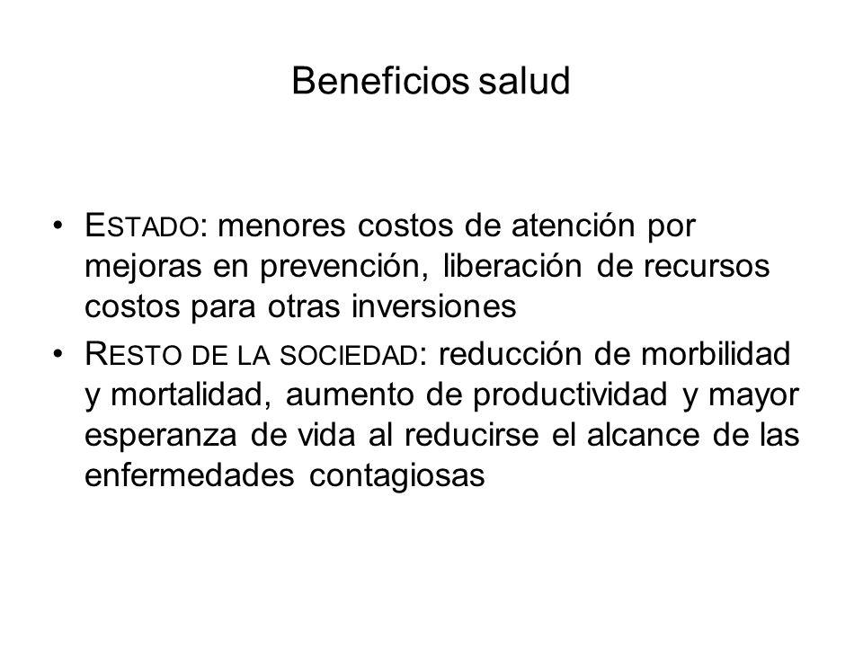 Beneficios salud E STADO : menores costos de atención por mejoras en prevención, liberación de recursos costos para otras inversiones R ESTO DE LA SOC
