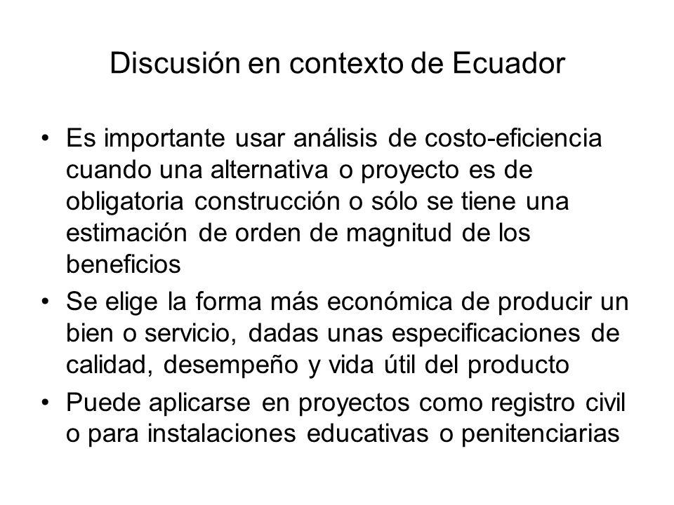 Discusión en contexto de Ecuador Es importante usar análisis de costo-eficiencia cuando una alternativa o proyecto es de obligatoria construcción o só