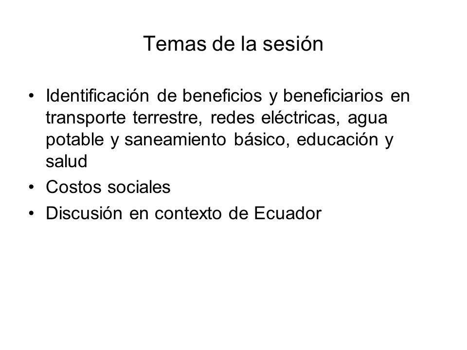 Temas de la sesión Identificación de beneficios y beneficiarios en transporte terrestre, redes eléctricas, agua potable y saneamiento básico, educació