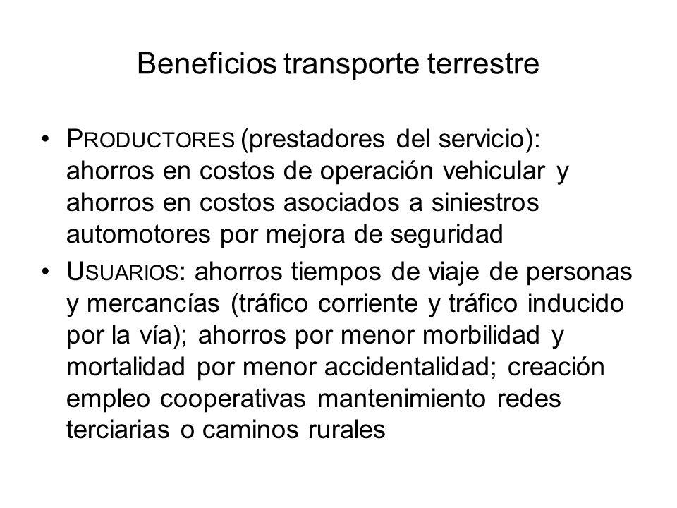 Beneficios transporte terrestre P RODUCTORES (prestadores del servicio): ahorros en costos de operación vehicular y ahorros en costos asociados a sini