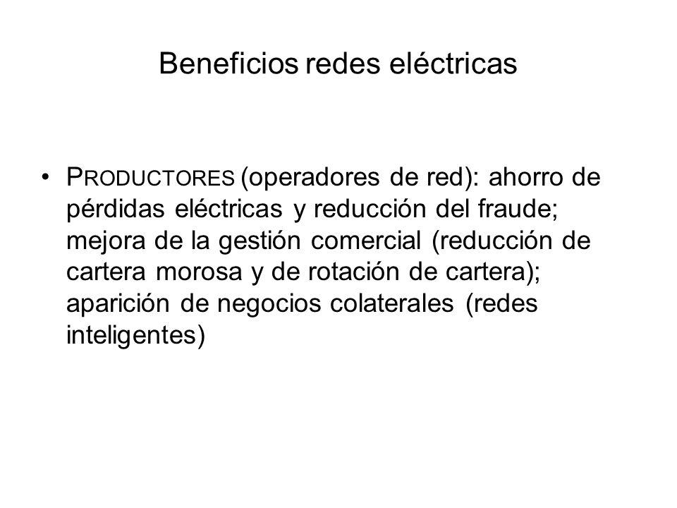 Beneficios redes eléctricas P RODUCTORES (operadores de red): ahorro de pérdidas eléctricas y reducción del fraude; mejora de la gestión comercial (re