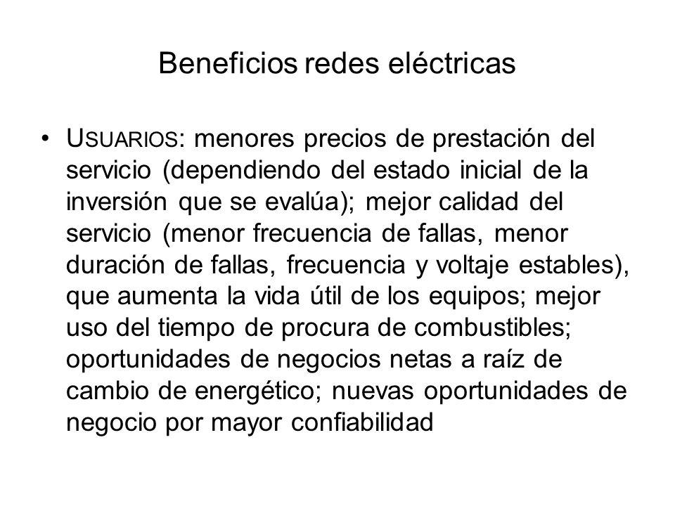 Beneficios redes eléctricas U SUARIOS : menores precios de prestación del servicio (dependiendo del estado inicial de la inversión que se evalúa); mej
