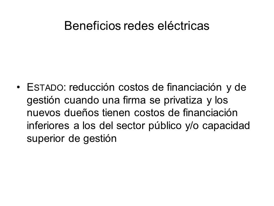 Beneficios redes eléctricas R ESTO DE LA SOCIEDAD : reducción de costos de energía mayorista por mejoras de la competencia en generación a raíz de la construcción de redes; reducción de costos de restaurar el servicio cuando hay interrupciones generales.