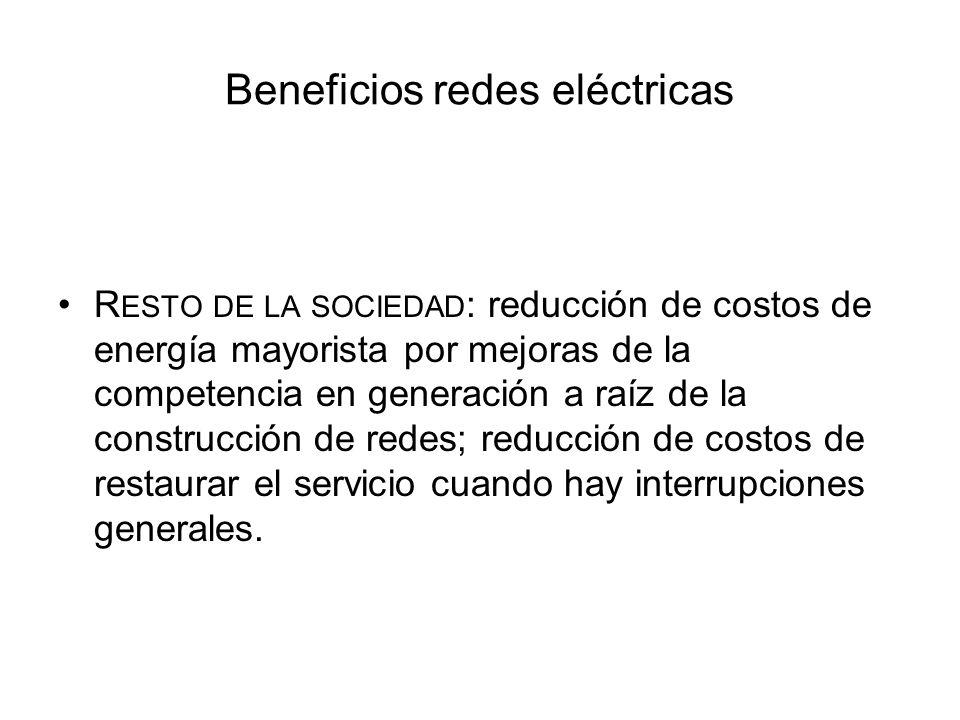 Beneficios redes eléctricas R ESTO DE LA SOCIEDAD : reducción de costos de energía mayorista por mejoras de la competencia en generación a raíz de la
