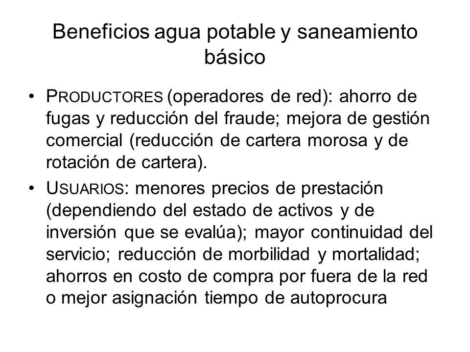 Beneficios agua potable y saneamiento básico P RODUCTORES (operadores de red): ahorro de fugas y reducción del fraude; mejora de gestión comercial (re