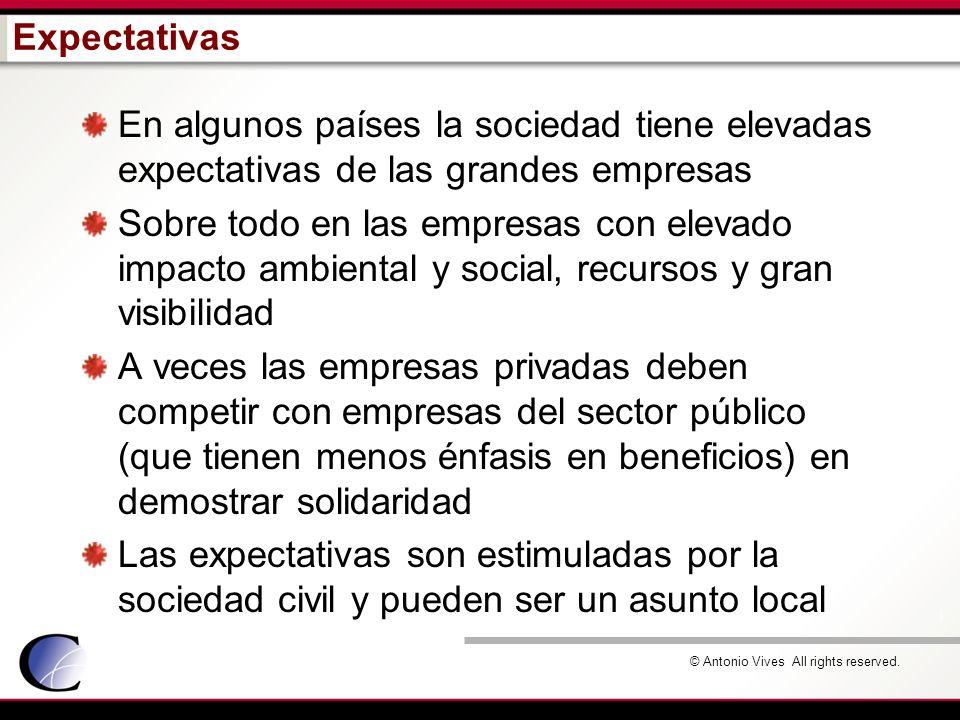 © Antonio Vives All rights reserved. Expectativas En algunos países la sociedad tiene elevadas expectativas de las grandes empresas Sobre todo en las