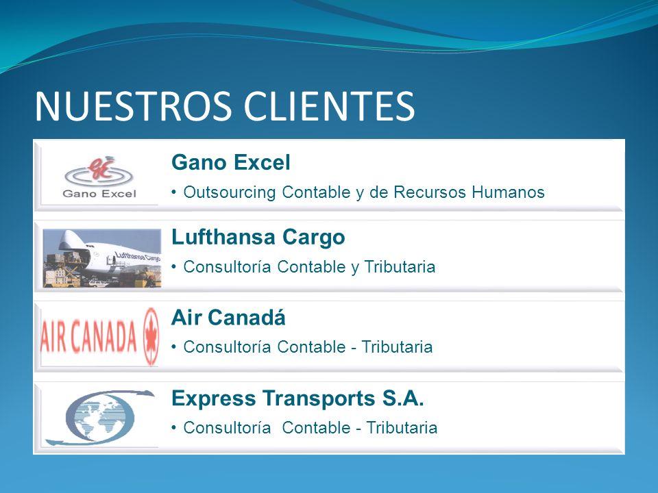 NUESTROS CLIENTES Gano Excel Outsourcing Contable y de Recursos Humanos Lufthansa Cargo Consultoría Contable y Tributaria Air Canadá Consultoría Contable - Tributaria Express Transports S.A.