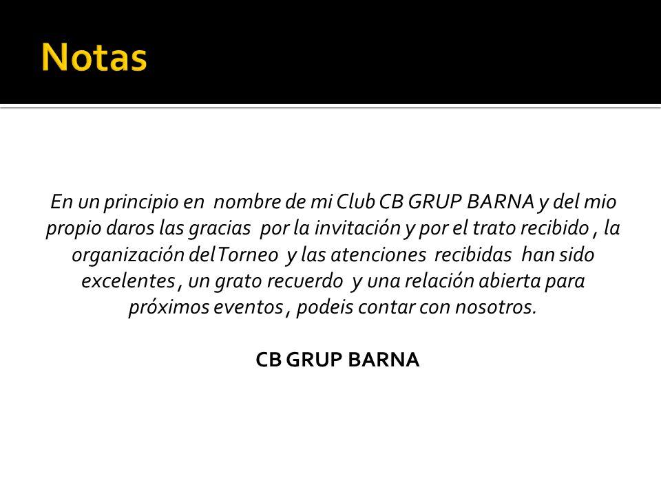 En un principio en nombre de mi Club CB GRUP BARNA y del mio propio daros las gracias por la invitación y por el trato recibido, la organización del T