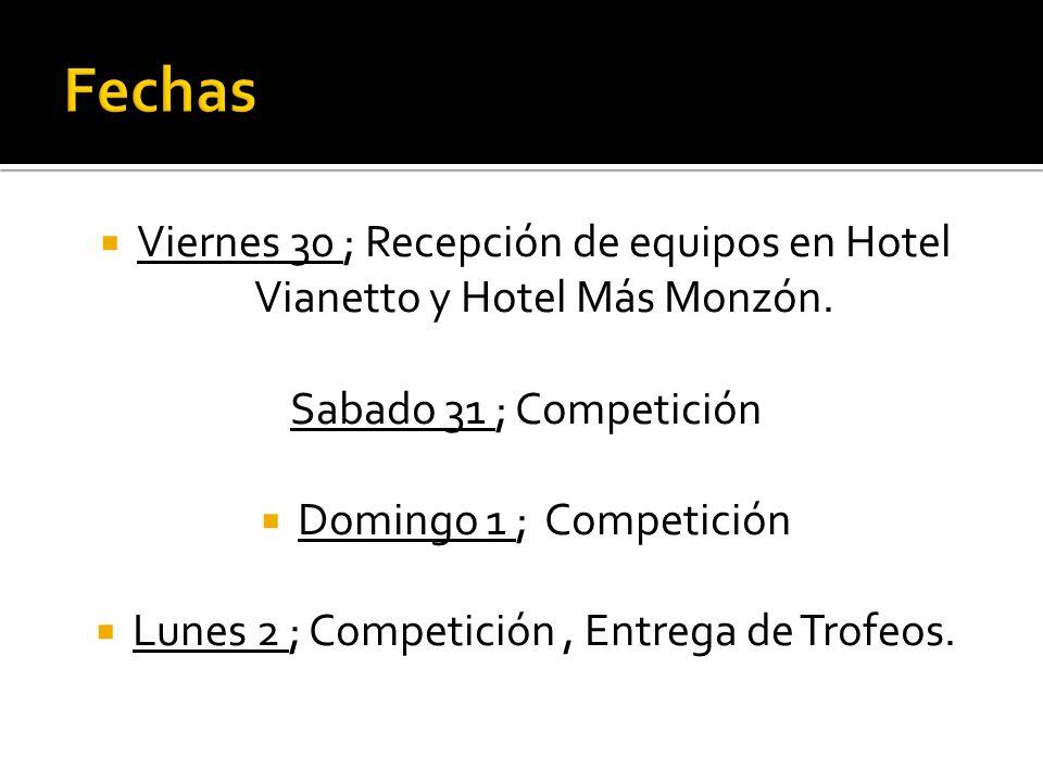 Viernes 30 ; Recepción de equipos en Hotel Vianetto y Hotel Más Monzón. Sabado 31 ; Competición Domingo 1 ; Competición Lunes 2 ; Competición, Entrega