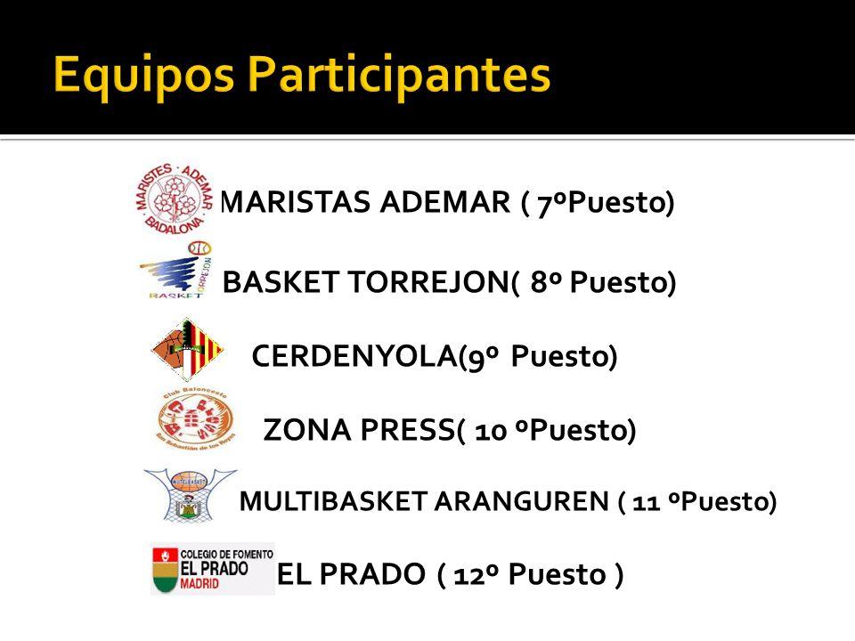 MARISTAS ADEMAR ( 7ºPuesto) BASKET TORREJON( 8º Puesto) CERDENYOLA(9º Puesto) ZONA PRESS( 10 ºPuesto) MULTIBASKET ARANGUREN ( 11 ºPuesto) EL PRADO ( 1