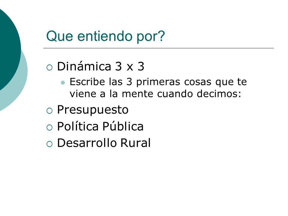 Que entiendo por? Dinámica 3 x 3 Escribe las 3 primeras cosas que te viene a la mente cuando decimos: Presupuesto Política Pública Desarrollo Rural