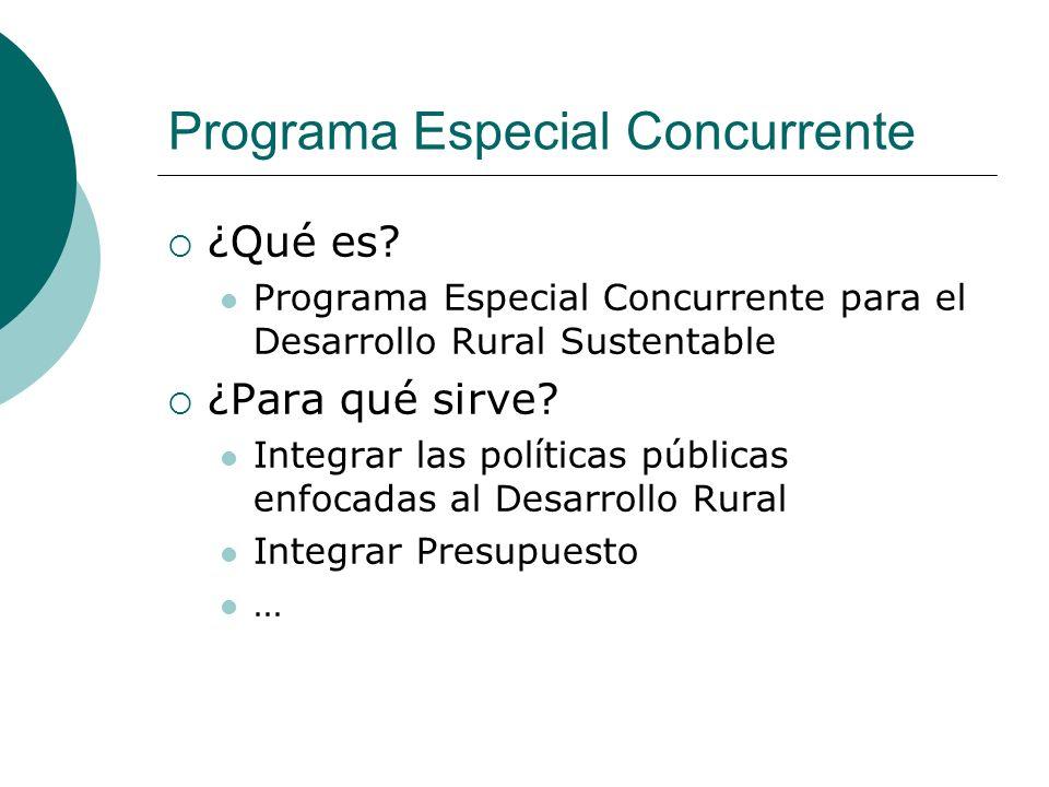 Programa Especial Concurrente ¿Qué es? Programa Especial Concurrente para el Desarrollo Rural Sustentable ¿Para qué sirve? Integrar las políticas públ