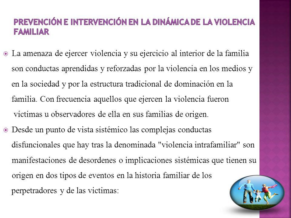 La amenaza de ejercer violencia y su ejercicio al interior de la familia son conductas aprendidas y reforzadas por la violencia en los medios y en la