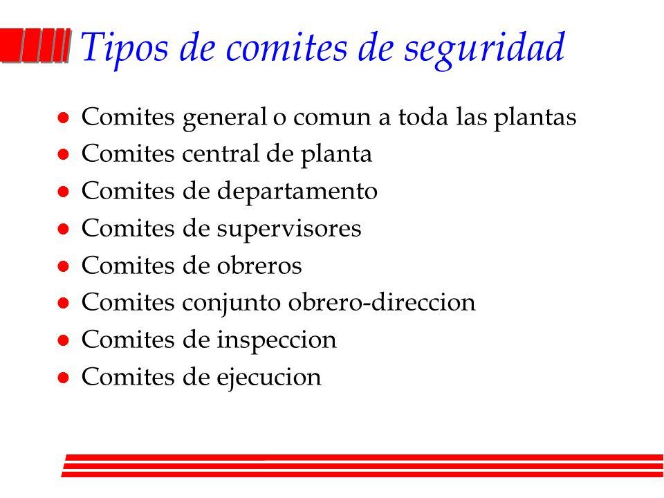 Tipos de comites de seguridad l Comites general o comun a toda las plantas l Comites central de planta l Comites de departamento l Comites de supervis