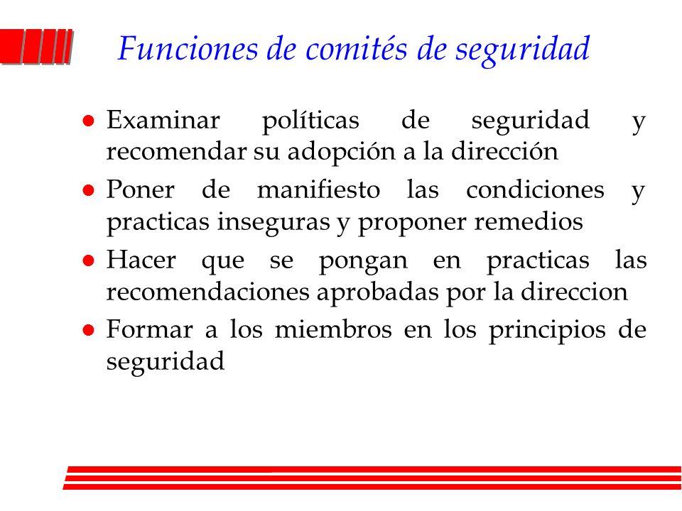 Funciones de comités de seguridad l Examinar políticas de seguridad y recomendar su adopción a la dirección l Poner de manifiesto las condiciones y pr