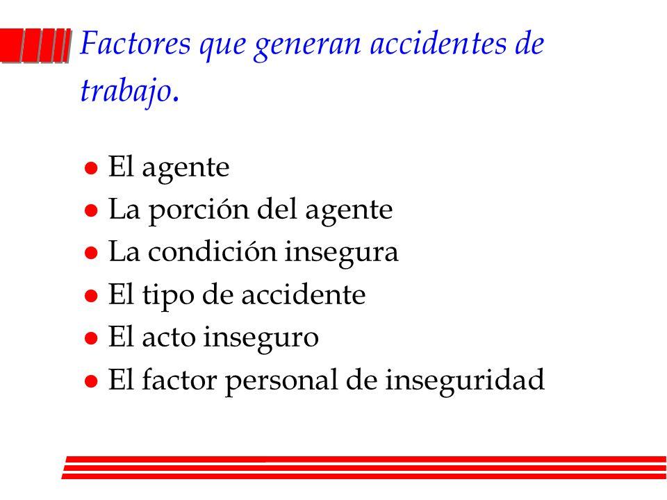Factores que generan accidentes de trabajo. l El agente l La porción del agente l La condición insegura l El tipo de accidente l El acto inseguro l El