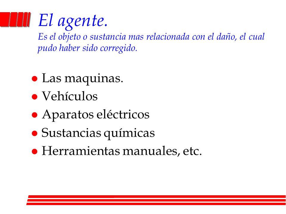 El agente. Es el objeto o sustancia mas relacionada con el daño, el cual pudo haber sido corregido. l Las maquinas. l Vehículos l Aparatos eléctricos