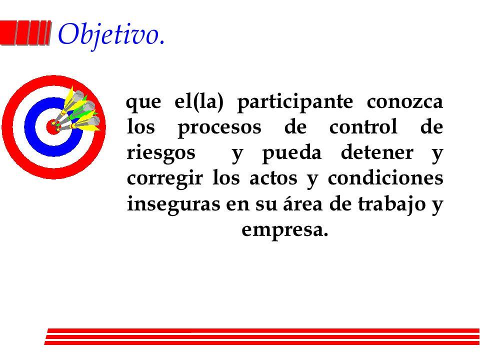 Objetivo. que el(la) participante conozca los procesos de control de riesgos y pueda detener y corregir los actos y condiciones inseguras en su área d