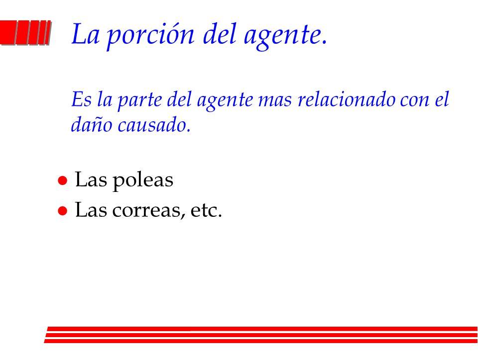 La porción del agente. Es la parte del agente mas relacionado con el daño causado. l Las poleas l Las correas, etc.