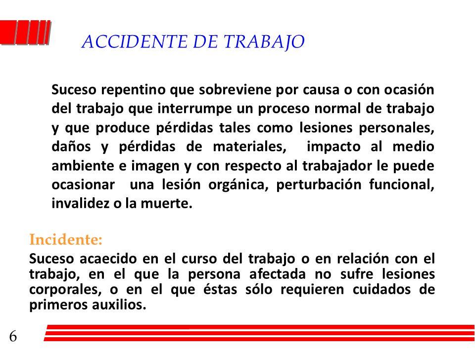 ACCIDENTE DE TRABAJO Suceso repentino que sobreviene por causa o con ocasión del trabajo que interrumpe un proceso normal de trabajo y que produce pér