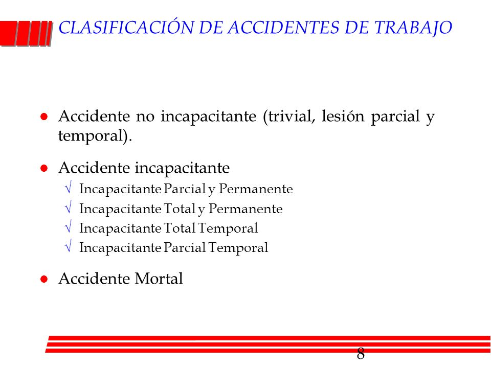 CLASIFICACIÓN DE ACCIDENTES DE TRABAJO l Accidente no incapacitante (trivial, lesión parcial y temporal). l Accidente incapacitante Incapacitante Parc