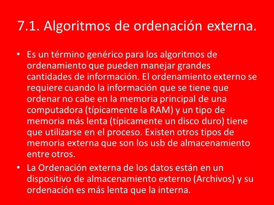7.1. Algoritmos de ordenación externa. Es un término genérico para los algoritmos de ordenamiento que pueden manejar grandes cantidades de información