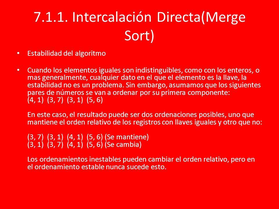7.1.1. Intercalación Directa(Merge Sort) Estabilidad del algoritmo Cuando los elementos iguales son indistinguibles, como con los enteros, o mas gener