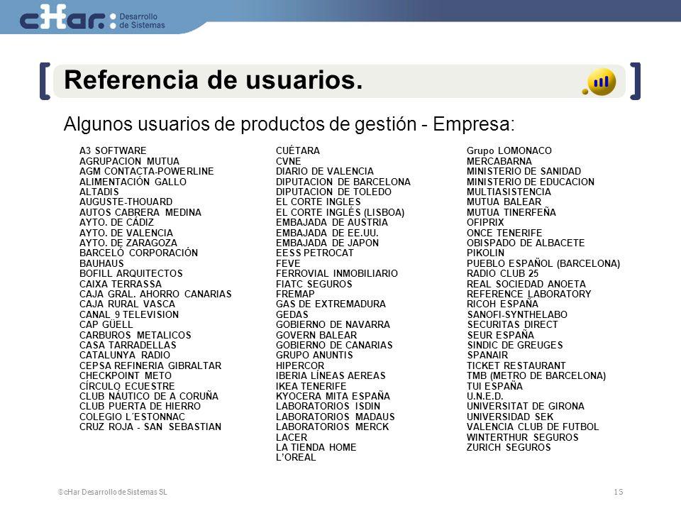 ©cHar Desarrollo de Sistemas SL / 200815 Referencia de usuarios. A3 SOFTWARE AGRUPACION MUTUA AGM CONTACTA-POWERLINE ALIMENTACIÓN GALLO ALTADIS AUGUST