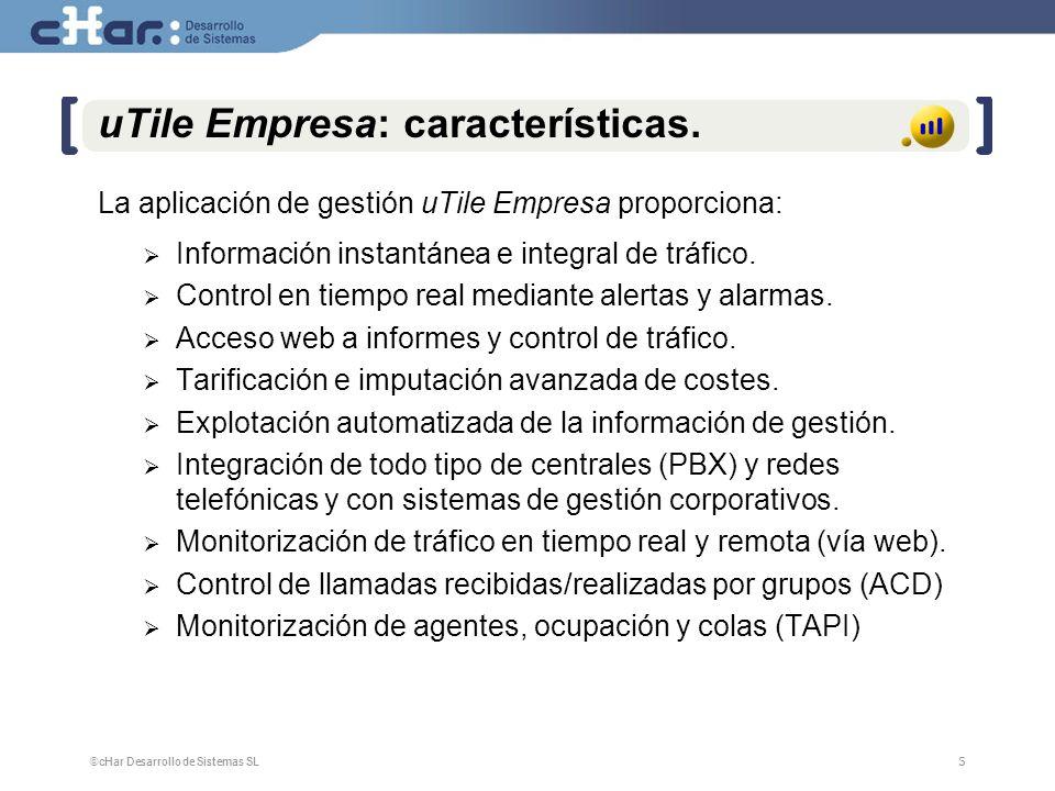 ©cHar Desarrollo de Sistemas SL / 20085 5 uTile Empresa: características. La aplicación de gestión uTile Empresa proporciona: Información instantánea