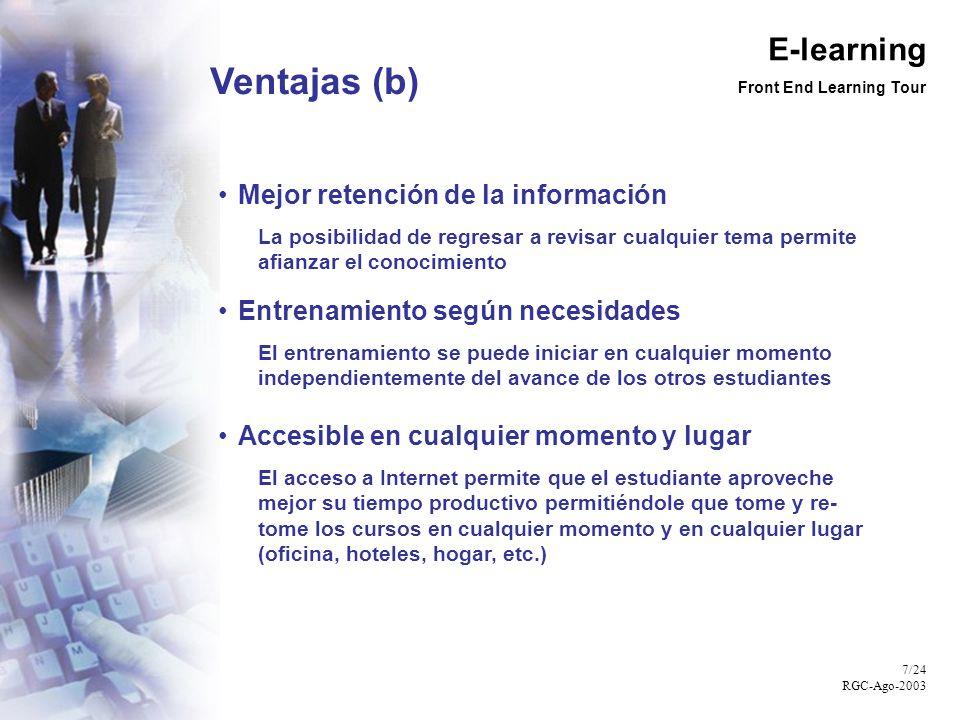 E-learning Front End Learning Tour 8/24 RGC-Ago-2003 Estructura del Sistema GLS E-learning Temas Cursos Módulos Contenido (Texto)