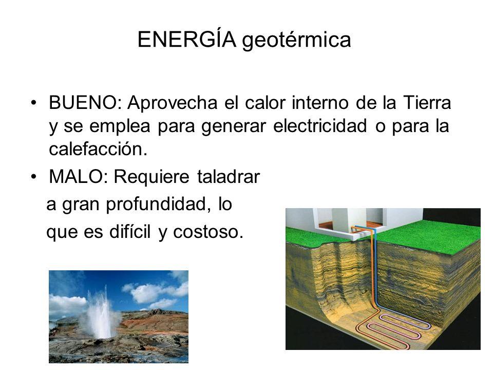 ENERGÍA hidráulica BUENO: Aprovecha saltos de agua de las presas de los pantanos para hacer girar la turbina de un generador de e.