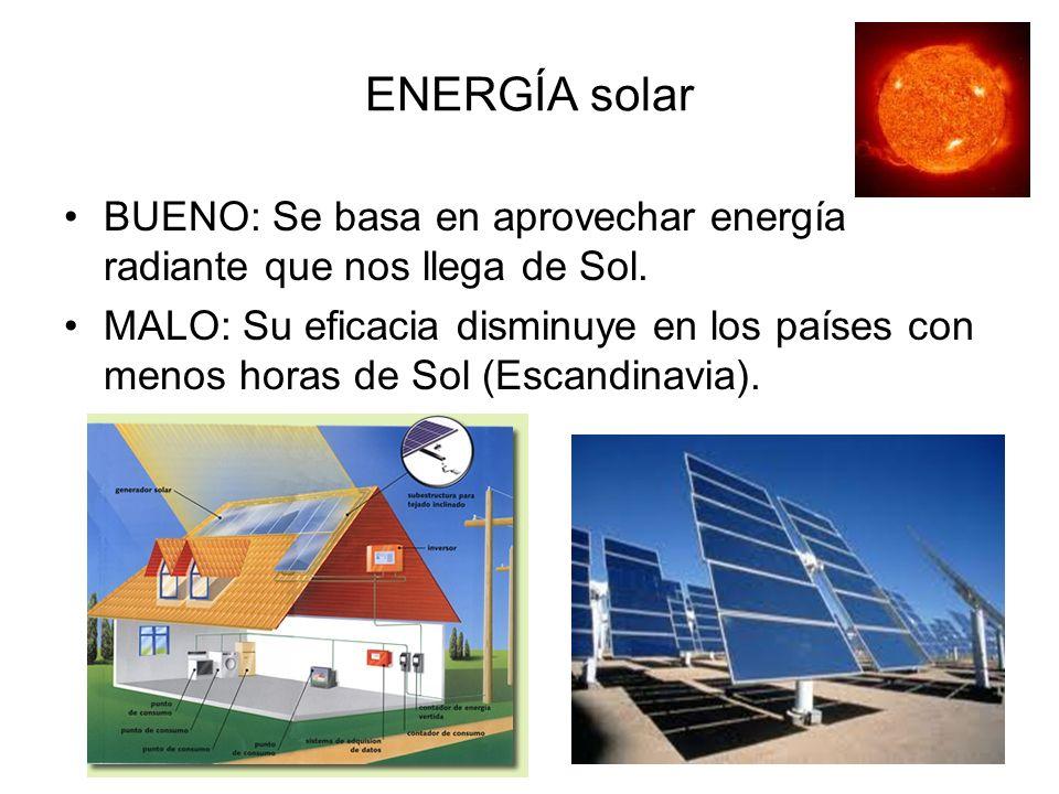 ENERGÍA solar BUENO: Se basa en aprovechar energía radiante que nos llega de Sol.