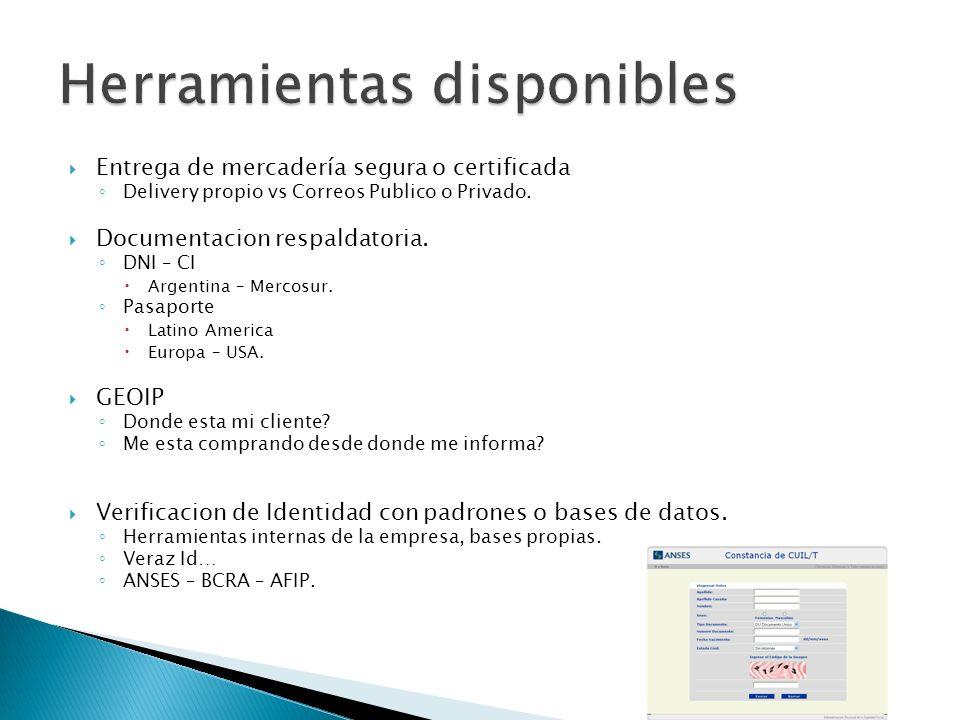 Entrega de mercadería segura o certificada Delivery propio vs Correos Publico o Privado. Documentacion respaldatoria. DNI – CI Argentina – Mercosur. P