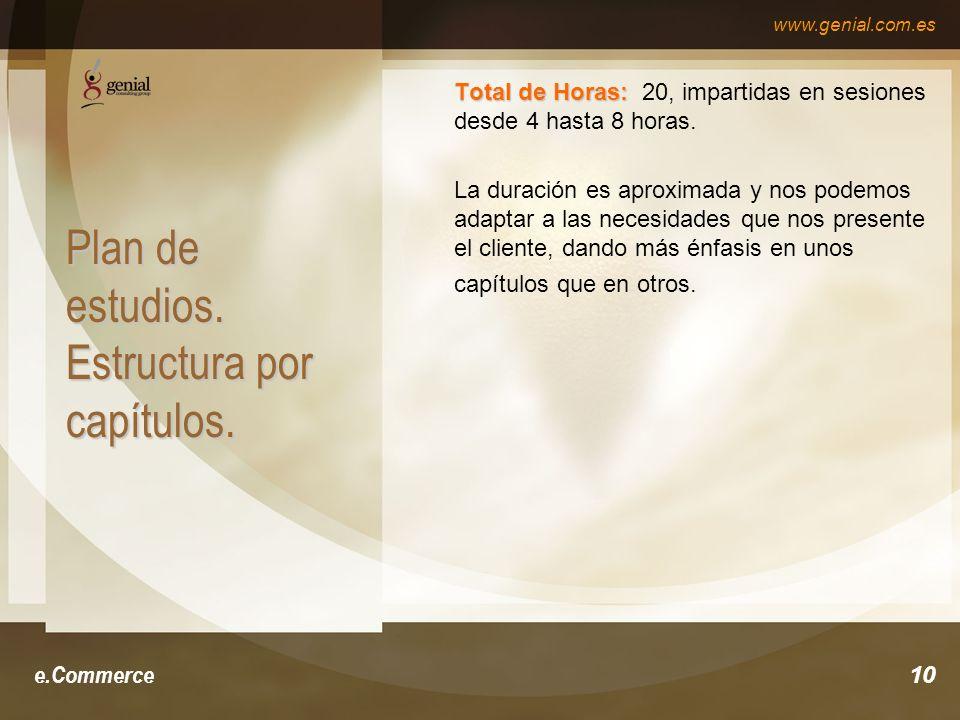 www.genial.com.es e.Commerce10 Plan de estudios. Estructura por capítulos.