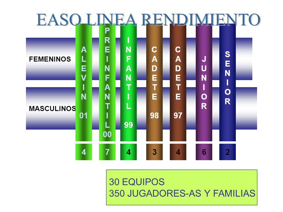 FEMENINOS MASCULINOS P R E I N F A N T I L 00 I N F A N T I L 99 C A D E T E 98 JUNIORJUNIOR C A D E T E 97 74346 30 EQUIPOS 350 JUGADORES-AS Y FAMILIAS A L E V I N 01 4 SENIORSENIOR 2 EASO LINEA RENDIMIENTO
