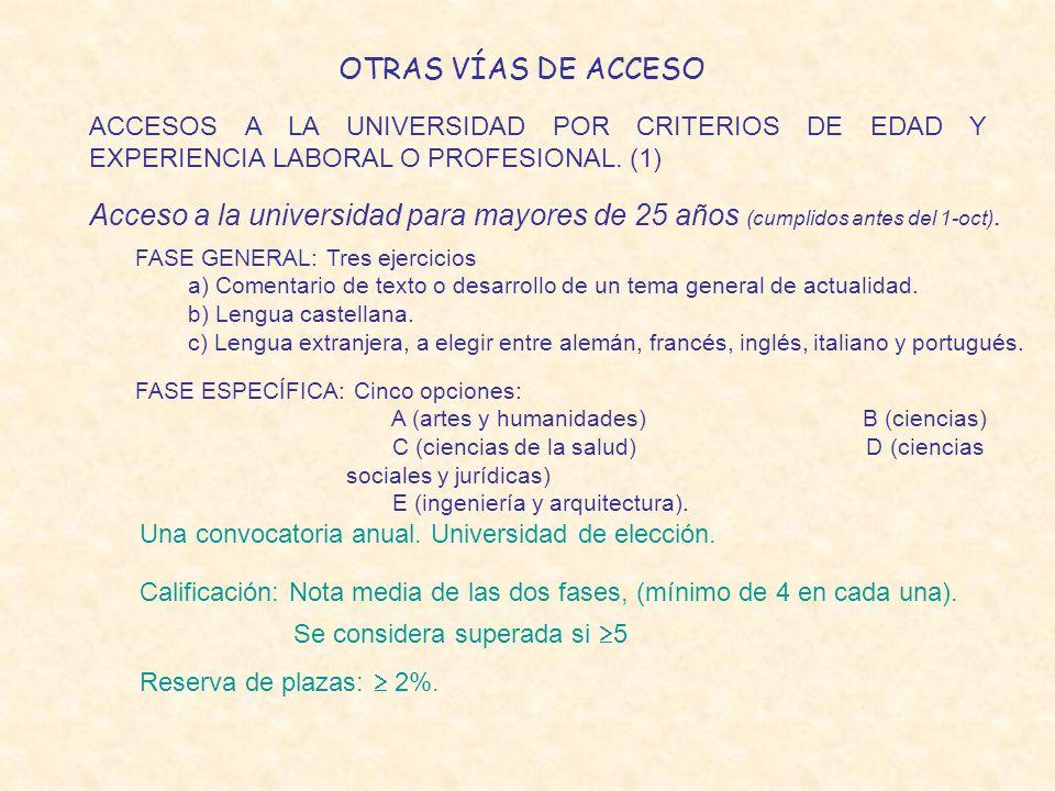 OTRAS VÍAS DE ACCESO ACCESOS A LA UNIVERSIDAD POR CRITERIOS DE EDAD Y EXPERIENCIA LABORAL O PROFESIONAL. (1) Acceso a la universidad para mayores de 2