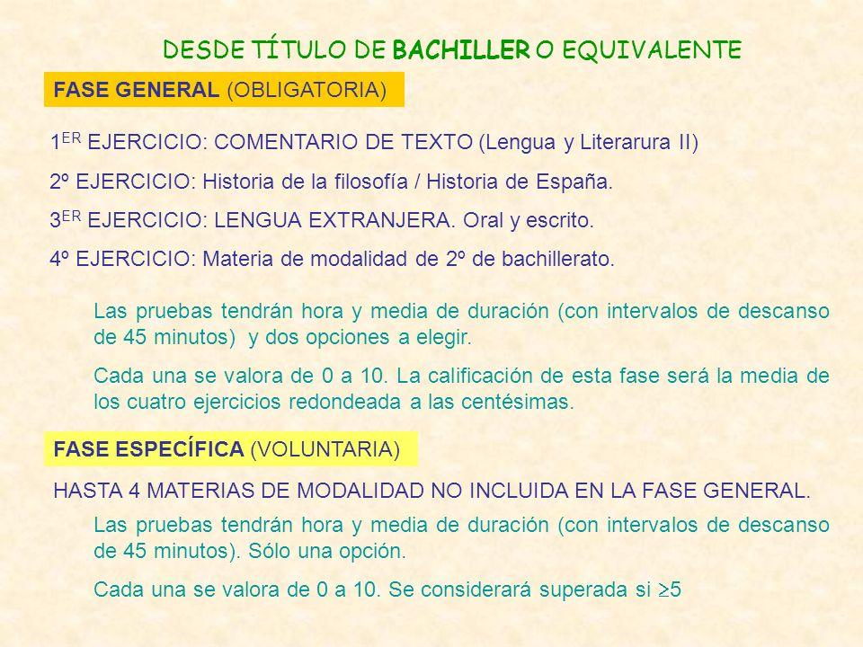 DESDE TÍTULO DE BACHILLER O EQUIVALENTE FASE GENERAL (OBLIGATORIA) FASE ESPECÍFICA (VOLUNTARIA) 1 ER EJERCICIO: COMENTARIO DE TEXTO (Lengua y Literaru