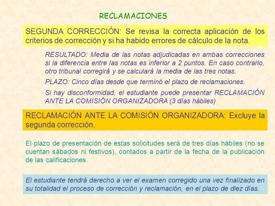 RECLAMACIONES El plazo de presentación de estas solicitudes será de tres días hábiles (no se cuentan sábados ni festivos), contados a partir de la fecha de la publicación de las calificaciones.