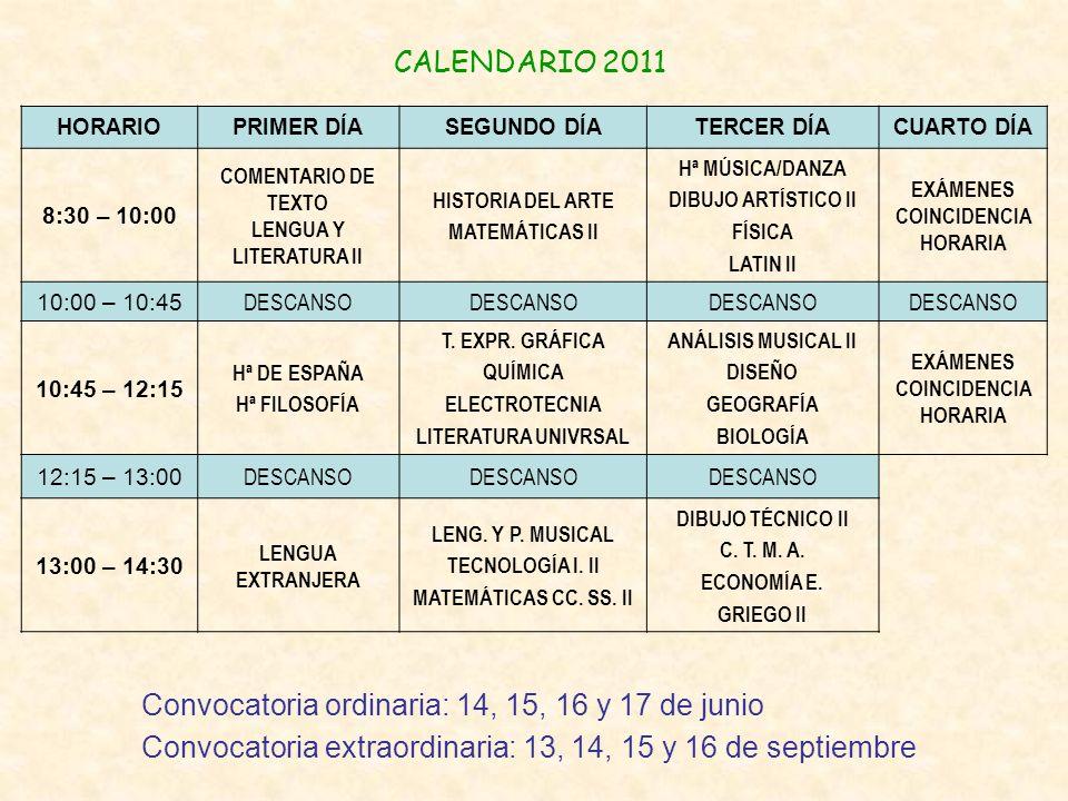 CALENDARIO 2011 Convocatoria ordinaria: 14, 15, 16 y 17 de junio Convocatoria extraordinaria: 13, 14, 15 y 16 de septiembre HORARIOPRIMER DÍASEGUNDO D