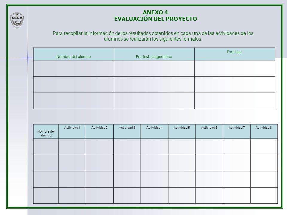Para recopilar la información de los resultados obtenidos en cada una de las actividades de los alumnos se realizarán los siguientes formatos. Nombre
