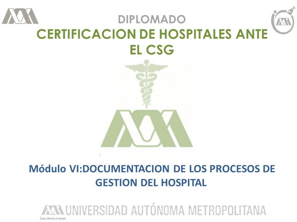 DIPLOMADO CERTIFICACION DE HOSPITALES ANTE EL CSG Módulo VI:DOCUMENTACION DE LOS PROCESOS DE GESTION DEL HOSPITAL