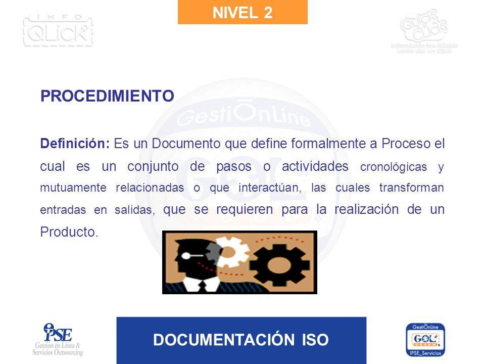 DOCUMENTACIÓN ISO PROCEDIMIENTO Definición: Es un Documento que define formalmente a Proceso el cual es un conjunto de pasos o actividades cronológica
