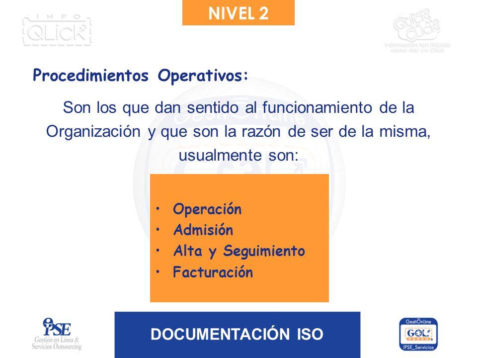DOCUMENTACIÓN ISO Son los que dan sentido al funcionamiento de la Organización y que son la razón de ser de la misma, usualmente son: Operación Admisi