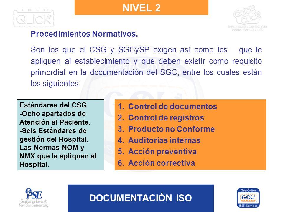 DOCUMENTACIÓN ISO Procedimientos Normativos. Son los que el CSG y SGCySP exigen así como los que le apliquen al establecimiento y que deben existir co