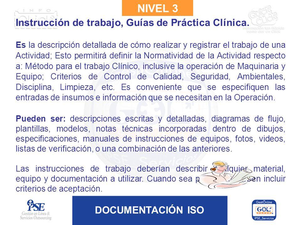 DOCUMENTACIÓN ISO Instrucción de trabajo, Guías de Práctica Clínica. Es la descripción detallada de cómo realizar y registrar el trabajo de una Activi