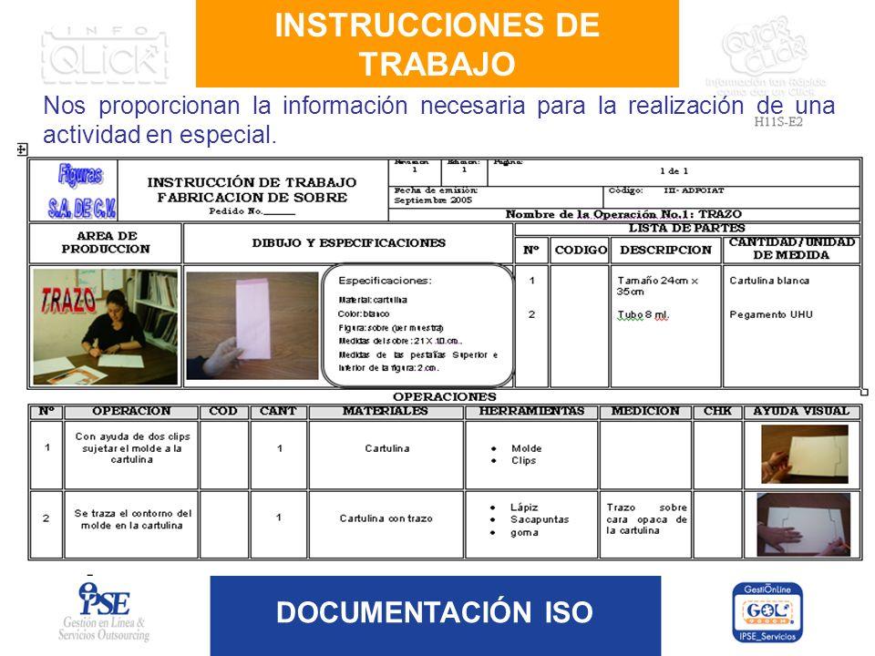 DOCUMENTACIÓN ISO Nos proporcionan la información necesaria para la realización de una actividad en especial. INSTRUCCIONES DE TRABAJO