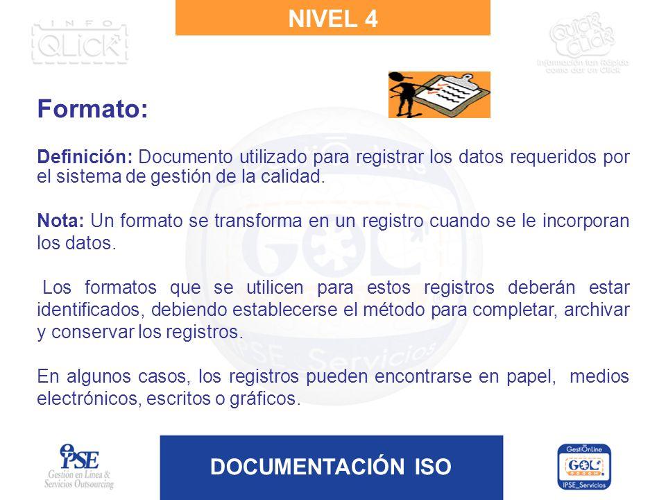 DOCUMENTACIÓN ISO Formato: Definición: Documento utilizado para registrar los datos requeridos por el sistema de gestión de la calidad. Nota: Un forma