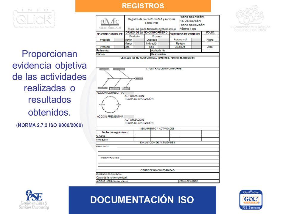DOCUMENTACIÓN ISO REGISTROS Proporcionan evidencia objetiva de las actividades realizadas o resultados obtenidos. ( NORMA 2.7.2 ISO 9000/2000)